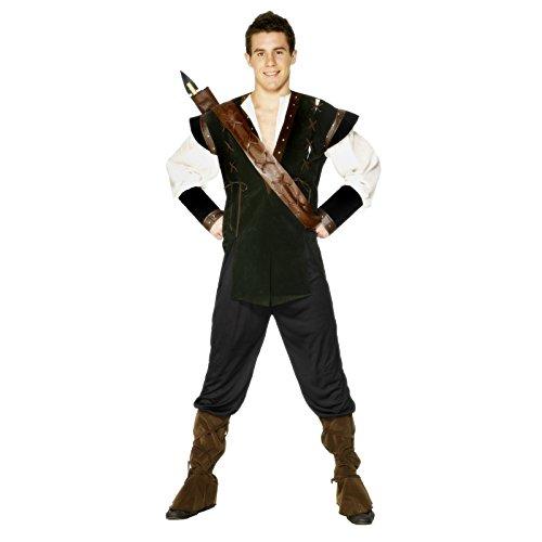Smiffys Robin Hood Kostüm Grün mit Hose Hemd Gürtel mit Köcher und Überstiefeln, Medium Preisvergleich