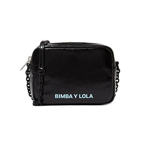 Bimba y Lola Damen Squared leather crossbody bag 181BBAL1W (Crackle-leder Schwarz)