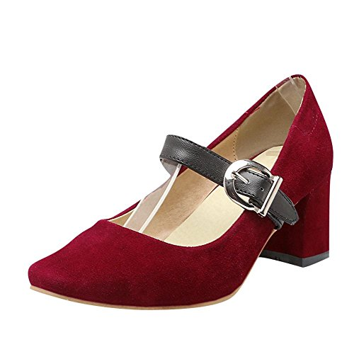 Mee Shoes Damen chunky heels Schnalle vierkant Pumps Rot