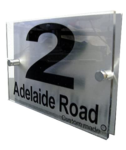 House Number Sign/Plaque Brushed Aluminium & Acrylic by Custom GOS6569 (Made in UK)