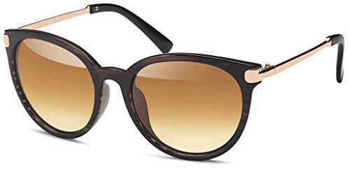Vintage Sonnenbrille im angesagten Unisex 60er Jahre Style mit trendigen bronzefarbenden Metallbügeln für Herren & Damen - Retro Brille (Gold-Leo)