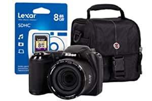 Nikon Coolpix L320 - Black + Case + 8GB Memory Card + 4xAA Battery and Charger (16.1MP, 26x Optical Zoom) 3 inch LCD