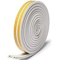 6M Door Seal Weather Stripping, Window Rubber Seal Strip Self Adhesive Foam Tape for Draft Stopper Gap Blocker and Wind blocker(White)