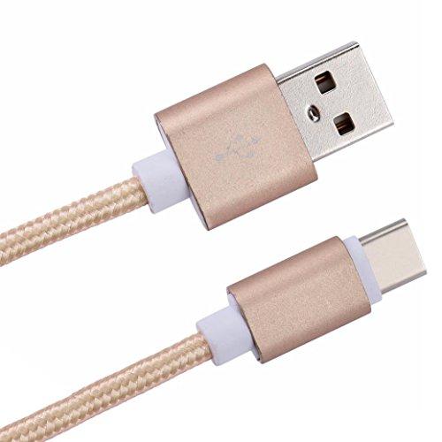 HOOUDO USB C 3.1 C Stecker auf USB 2.0 A Männliches Datenkabel für Android Handys (Gold)