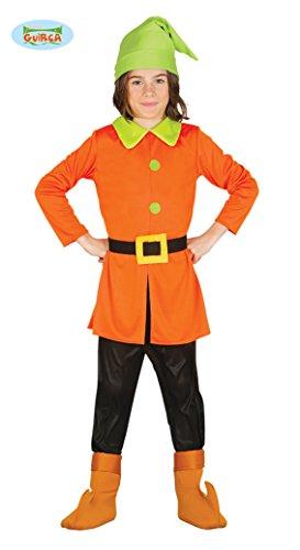 Imagen de disfraz de enanito naranja y verde para niños