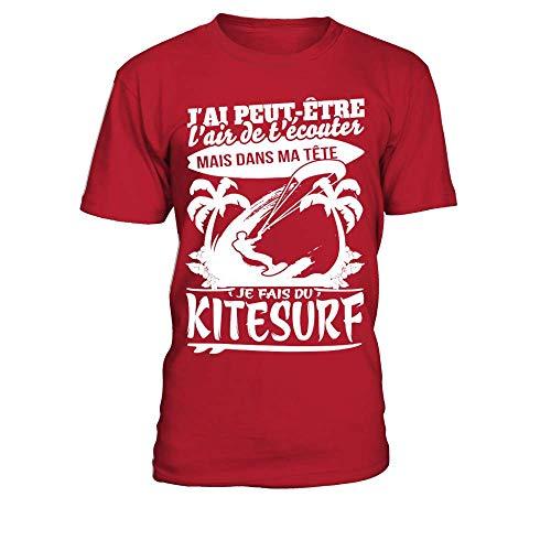 teezily T-Shirt Homme J'Ai Peut Etre L'Air De T'Écouter mais dans Ma Tête Je Fais du Kitesurf
