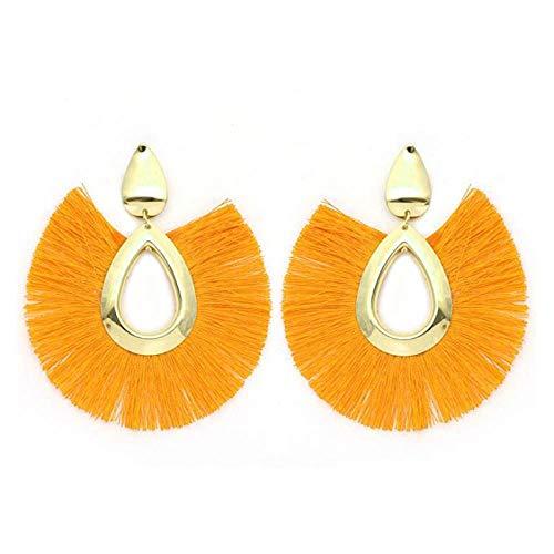 ADD Ohrringe Ohrringe Big Sector Form Ohrringe für Frauen Schmuck weiblich Ausgehen, um an Hochzeitsgeschenken teilzunehmen, dunkelgelb (Big-band-ohrringe Sterling Silber)