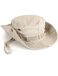 Leisial Sombrero de Pescador Camuflaje Del Ejército de Ala Ancha Borde Redondo Anti-UV Algodón Acampada Senderismo Deporte al Aire Libre Ocio Gorra Montaña para Adulto Unisexo