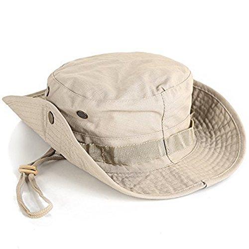 Demarkt Outdoor Hut Sonnenschutz Sun Hut Outdoor Buschhüte mit Kinnband Für Fishing Hunting Hiking Cap Busch (Khaki) -