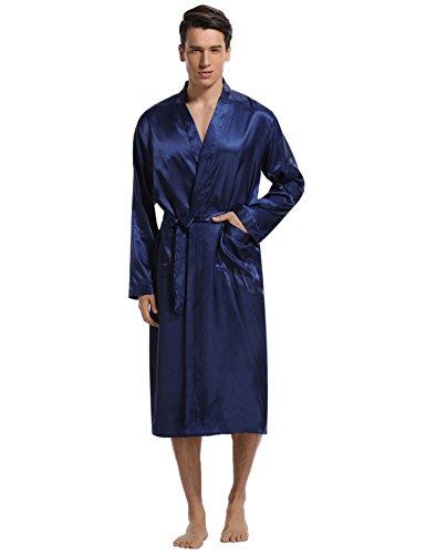 Aibrou Herren Morgenmantel Bademantel Lang Satin Nachtwäsche Kimono Sleepwear V Ausschnitt mit Gürtel Blau XL