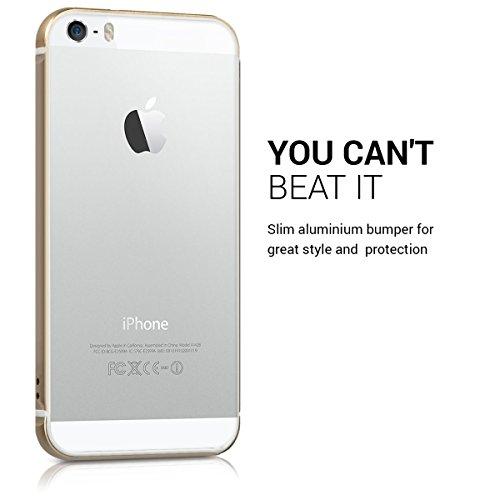 kwmobile Bumper für Apple iPhone SE / 5 / 5S - Rahmen Hülle Handy Aluminium auf TPU Silikon - Rundumschutz Cover Case Schutzhülle Gold Gold