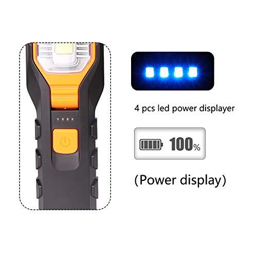 COB Lampe de poche LED de travail 4 modes super lumineuse 2000 lm rechargeable USB flexible lampe de travail magnétique LED d'inspection d'urgence avec crochet pour camping randonnée extérieur