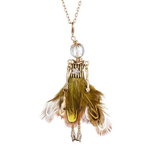 eder Kleid Puppe Halskette Frauen Mädchen Goldkette Kristall Blume Design Elegante Weibliche Aussage Halskette Modeschmuck ()
