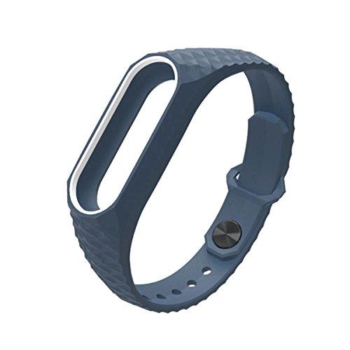 Pulsera Mi Band 2,Correa Mi Band 2 La Smart Band 2 de Xiaomi 3D de Moda Smart Watch Strap Perfecta Correa Para Miband2(Sin Rastreador de Actividad)(Azul y Blanco)