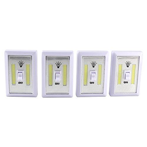 FrideMok LED Nachtlicht Cordless COB LED Notlichtschalter 200 Lumen Batteriebetriebene Multi-Use-Self-Stick Für Kinderzimmer Erwachsene 4 Pack (Batterie nicht enthalten) (Installieren Dimmer Lichtschalter)