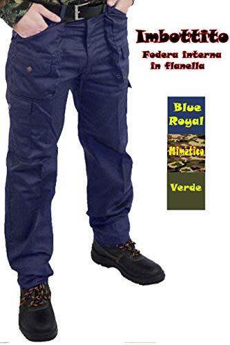 Petersabitidalavoro Pantaloni da lavoro, multitasche,CACCIA,PESCA,TEMPO LIBERO IMBOTTITO in panno INVERNALE (44, blu)
