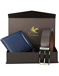 Hornbull Combo Gift Set for Men's - Navy Wallet and Brown Belt Men's Combo Gift Set 6992