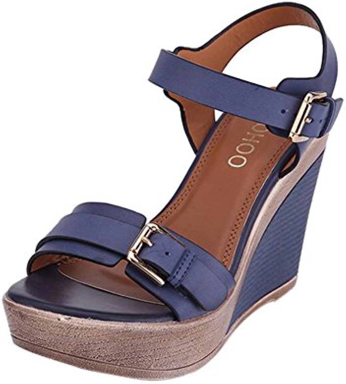 HIGHXE Mujer Señora Tacones Altos Rhinestones Zapatos de Boda Zapatos de Fiesta Bomba Plataforma a Prueba de Agua... -