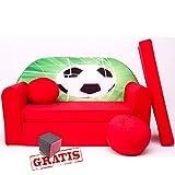 D3 Kindersofa 3 in 1 Baby Sofa Minicouch Set + weiches Spielzeug gratis Sitzkissen Matratze (rot Fussball)