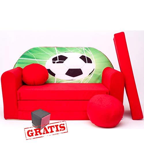 Divano per bambini 3 in 1 d3 minicouch set + morbido giocattolo gratis cuscino materasso (rosso pallone da calcio)
