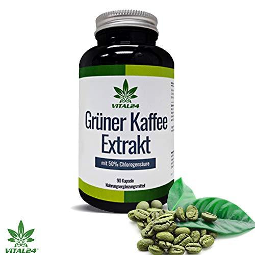 VITAL24 - Grüner Kaffee Extrakt - FAT Burner der VIPs - 90 hochdosierte Kapseln - starke Konzentration an Chlorogensäure
