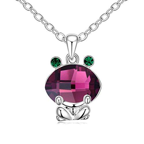 Daesar Schmuck Damenkette Vergoldet Frosch Synthetische Kristall Halskette Zirkonia Halskette Anhänger