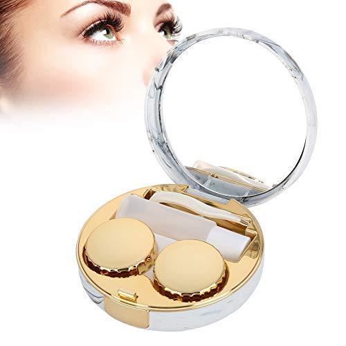 Mini round scatola porta lenti a contatto, con soluzioni di cura, scatole doppie, pinzette, bastoncini, lenti a contatto protettive (giallo)