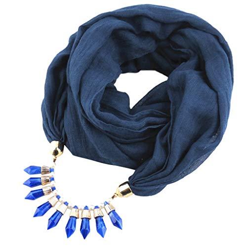 GreatestPAK Damen Loop Scraft Mode Baumwolle und Leinen Bib Anhänger Schal Solide Tassel Schals Ethnische Halskette Schmuck Acryl Turban Poly Turban