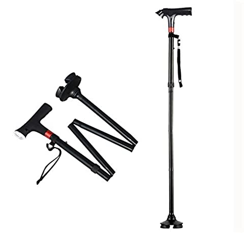 Outdoor GZ004 Aluminium Vier Füße Crutch Sticks mit Alarm Lichter Vier Sektionen Falten Easy Walking Stick