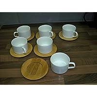 Home Design Studio - Juego de 6 tazas de té de cerámica con platos de té de bambú, color blanco