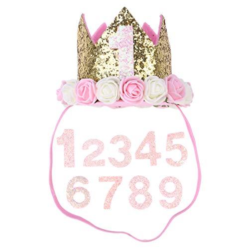Kostüm Baby Beagle - POPETPOP Hund Katze Geburtstag Party Hut Geburtstag Tiara Krone Party Zubehör Kopfbedeckung 1-9 (rosa Zahl)