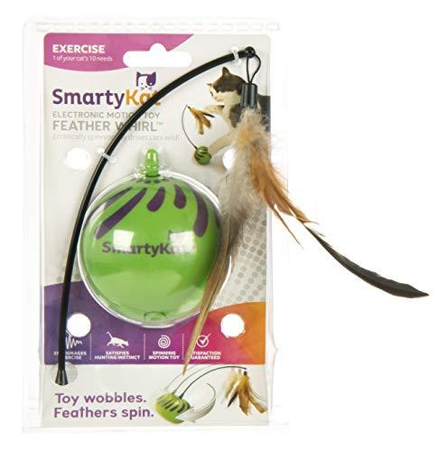 SmartyKat Feather Whirl Katzen-Spielzeug, Sich bewegender elektronischer Ball