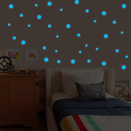 Zegeey Glow In Dark Star Wandaufkleber Runde Dot Star Moon Luminous Kinderzimmer Dekor