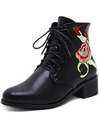 QPYC Botas de mujer de las señoras Bordado de encaje Rough Heel Botas sin cordones Botas cortas bordadas Mujeres...