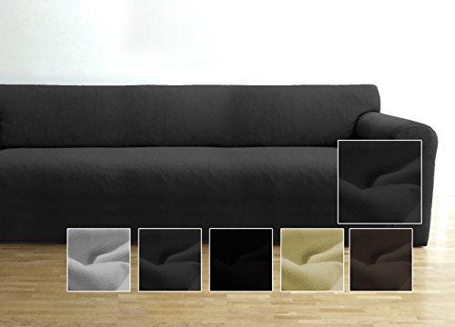 Ambivelle Couchhusse, Sofabezug, Couchbezug, bi-elastische Stretchhusse, Spannbezug für viele gängige 3er Sofas, anthrazit