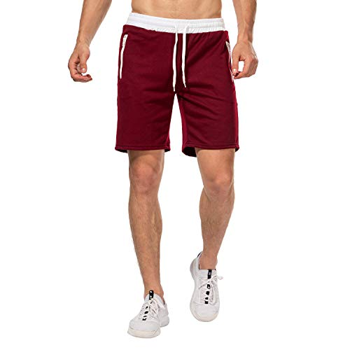 CHYU Herren Sport Joggen und Training Shorts Fitness Kurze Hose Jogging Hose Bermuda Reißverschlusstasch (L, Wine Red) -