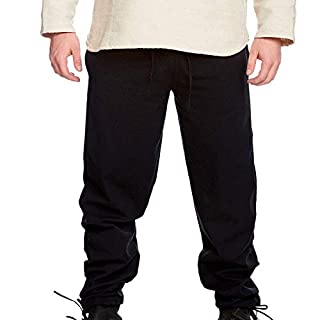 Leonardo Carbone Medieval Men's Pants Arvo Long with Elastic Band Cotton Black - L