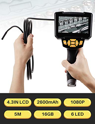 Endoscopio industrial con pantalla LCD de alta definición de 4,3 pulgadas, Cámara de boroscopio impermeable de 5m con 6 luces LED, Batería recargable de 2600 mAh, Tarjeta TF de 32 GB
