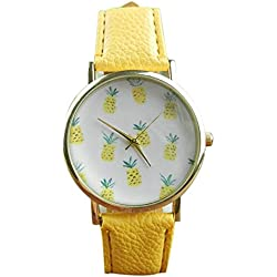 SSITG Women's Watch Vogue Pineapple Pattern Leather Analog Quartz Bracelet Watch Gift