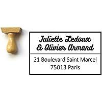 Tampon adresse coordonnées personnalisé, rectangle bois 5 x 3 cm, personnalisable, fabriqué sur mesure en France
