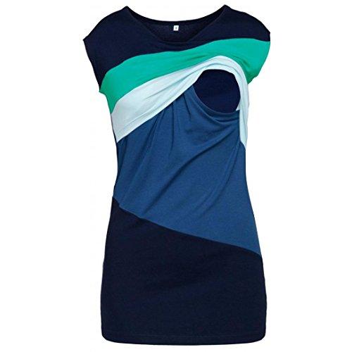 Cinnamou Lactancia de maternidad para mujeres, Camiseta de manga corta Embarazada Cuello Redondo Color Bloque Verano Ropa Doble capa blusa camiseta para Mamá (Azul, L)