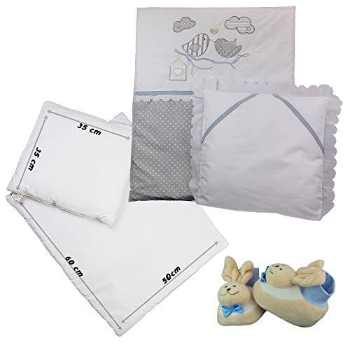 4-tlg.Baby Bettwäsche Decke Kissen für Kinderwagen Stubenwagen Wiege Garnitur (Weiß mit Vogel) (Baby-vogel-bettwäsche)