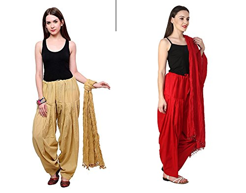 Mrv fashion Women Plain Cotton Traditional Punjabi Full Patiala Pant\'s with Dupatta Readymade Set-Free Size (marron::beige)