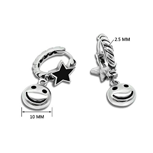 WJP Sterling Silber Ohrringe, Fünf-Sterne-Persönlichkeit Ohrringe, Smiley Ohrringe S925 Thai Silberschmuck , Teenager Mädchen Student Ohrringe,1,925er Silber
