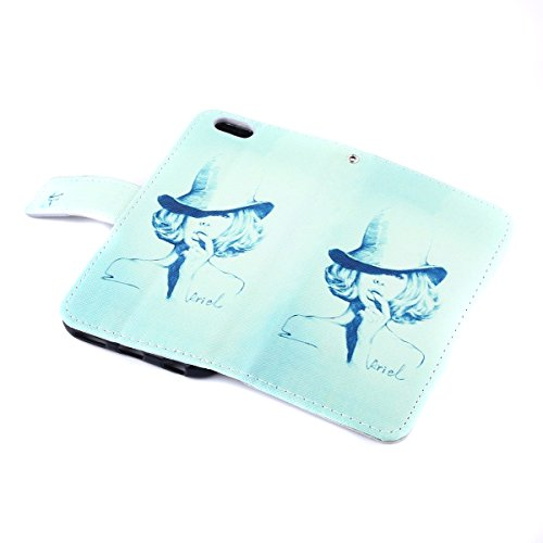 iPhone 6S Ledertasche - Felfy Schutzhülle für Apple iPhone 6S 6 Magnetband Muster Flip Ständer Bookstyle PU Leder Wallet Case Cover Etui Holster Handytasche + 1x Bling Rot Eule Anti Dust Plug + 1x Rot Hexe Cas