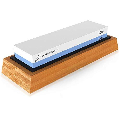 KKmoon 1000/6000 Grit Whetstone Cut Sharpening Stone Set Ideal Sharpener for All Blades Non Slip Base Cutter Sharpener