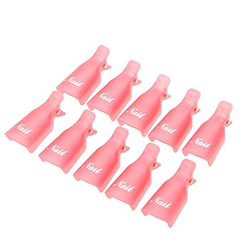 prochive 10x wiederverwendbare Salon DIY Kunststoff-Acryl Nail Art Soak off Clip Cap UV Gel Polish Remover Soaker von Wrap Werkzeug Set