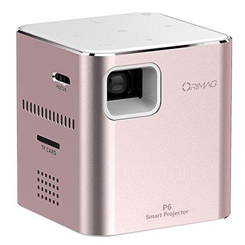 Orimag P6 Mini DLP Projector 1080p 80 Lumen 2000mAh Slot SD WiFi Rose Gold