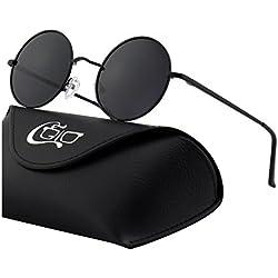 CGID E01 Pequeño Estilo Vintage Retro Lennon inspirado círculo metálico redondo gafas de sol polarizadas para hombres y mujeres