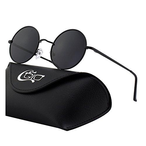 CGID Kleine Retro Vintage Sonnenbrille, inspiriert von John Lennon, polarisiert mit rundem Metallrahmen, für Frauen und Männer E01 Große Beilage